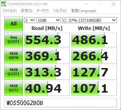 SSD WDS500G2B0Bのベンチマークテストの結果 SeqQ32T1読みが554MB/s、書きが486MB/sで、4KiBQ32T1読みが313MB/s台、書きが128MB/sとなっている