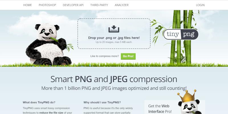 TinyPNGのページのスクリーンショット