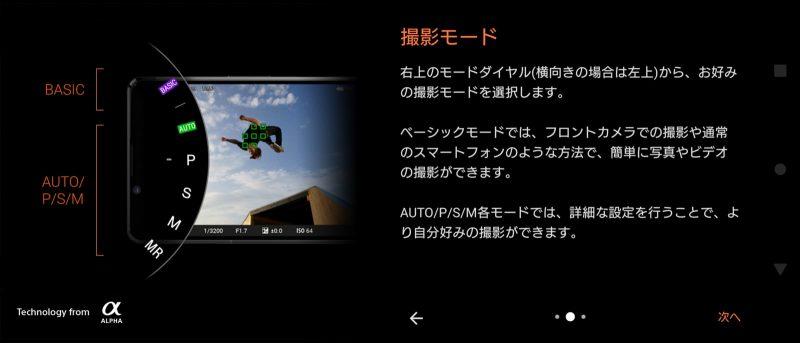 Photography Proを起動したときの説明のスクリーンショット/撮影モードの説明