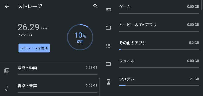 Xperia 1 IIIでは、使用前のストレージ状態が「26.29GB/256GB中」で10%使用だった