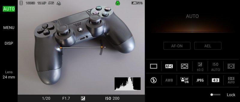 Photography Proのオートモードで撮影しようとしたときのスクリーンショット