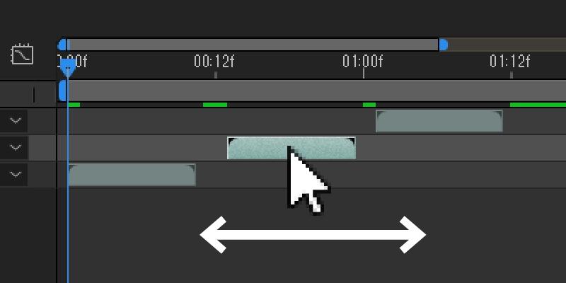 タイムライン上の右に表示されているオブジェクトを動かすことで、表示するタイミングの調節が可能